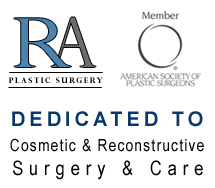 RA plastic surgery logo & member of amercian society of plastic surgeons dedicated to cosmetic & reconstructive surgery & care